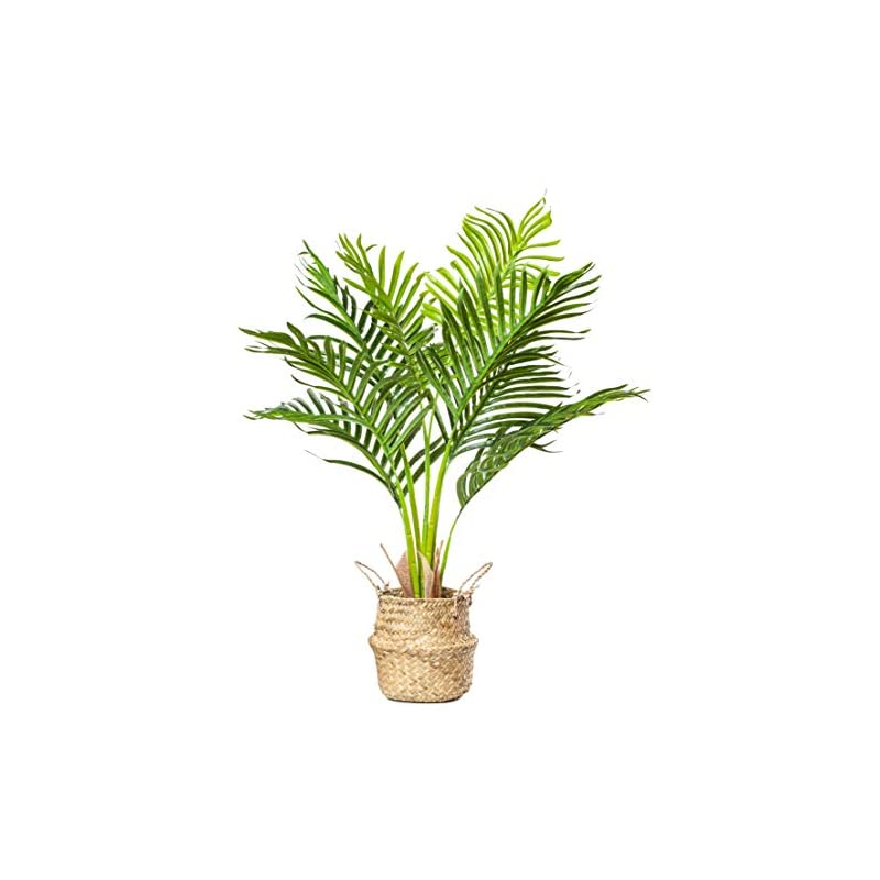 """silk flower arrangements plantae mini artificial areca palm tree 30"""" inch tall 8 realistic branches faux plant for home and office decor indoor with handmade natural seagrass woven basket included"""