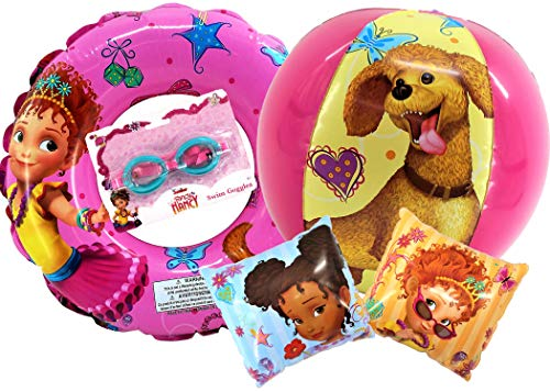 Disney Junior Fancy Nancy Pool Set for Girls | Includes Officially Licensed Fancy Nancy Beach Ball, 2 Arm Floats, 1 Swim Ring and Swim Goggles | Summer Time Beach Fun