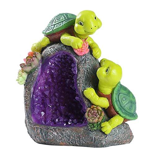 Homyl Solarfigur Gartenfigur Kaninchen Tierfigur Schmetterling Dekofigur Eichhörnchen mit solarbetriebener Beleuchtung, auswählbar - Liebpaar Schildkröten A