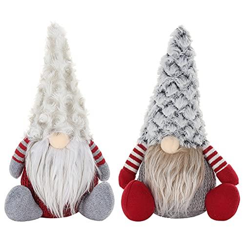 Christmas Gnomes Plush Handmade Tomte Swedish Gnome, 2 Pack Scandinavian Figurine Nordic Plush Elf Doll Gnome Ornaments Christmas Decorations Home Decor, Grey Red