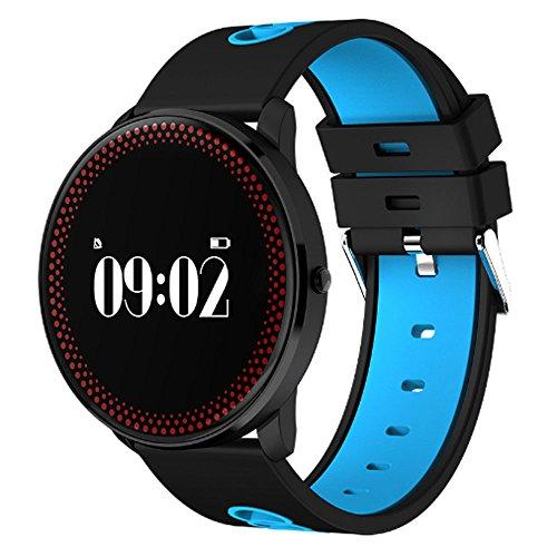 HUOQILIN Intelligente, tragbare Uhr, Herzfrequenz, Blutdruck, Blutsauerstoff, Armband zur Schlafüberwachungsstufe, Bewegungs-Tracker, Herzfrequenzmesser (Color : Blue)