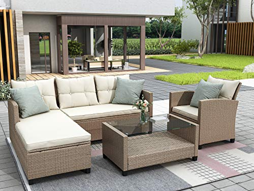 CawBing Living Room,Outdoor, Patio Furniture Sets, 4 Piece Conversation Set Wicker Ratten Sectional Sofa with Seat Cushions (Beige)
