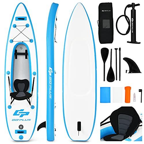 Goplus Inflatable Sit-On-Top Kayak, 1 Person Canoe w/Adjustable Aluminum Paddle...