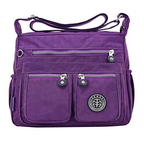 Anliyou Taschen Diebstahlsicher Umhängetaschen mit vielen kleinen Tüte Multifunktional Handtaschen Damen Schultertasche mit Reisverschluß Wasserdicht Shopper Tote Bag Crossbag aus Nylon