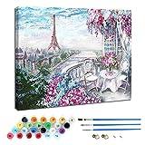 Kit de pintura al óleo por números para niños y adultos principiantes, incluye pinceles y pigmentos acrílicos, decoración de hogar-Jardín cálido 40 × 50 cm