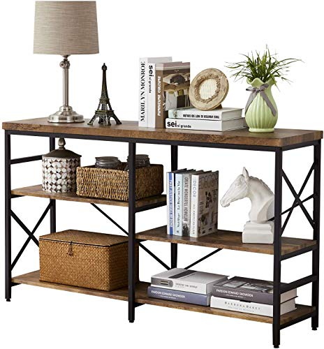 OIAHOMY Industrial Sofa Table,Console Table,3-Tier Industrial Rustic Hallway/Entryway Table,Easy Assembly,for Entryway, Living Room (Rustic Brown)