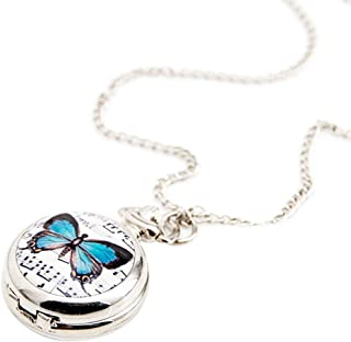 Hemobllo Classic Pocket Watch Steel Porcelain Necklace Watch Case Dial Music Butterfly Pocket Watch for Womenシ4.5 x 4.5cm Whiteシ