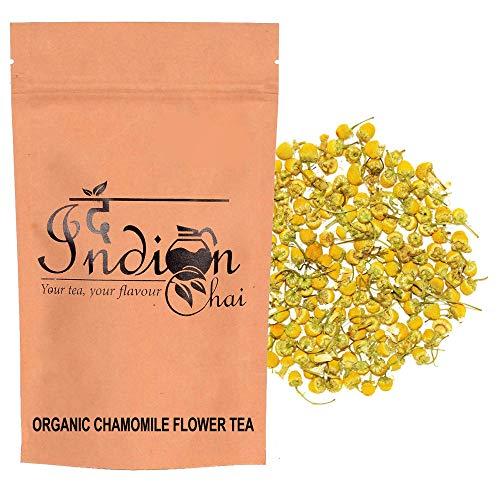 The Indian Chai - Organic Chamomile Tea 50g in Air Tight Zipper Pouch | Certified Organic - Detox Tea - Calming Tisane - Herbal Tea - Caffeine Free - Whole Flowers| Refill Pack |