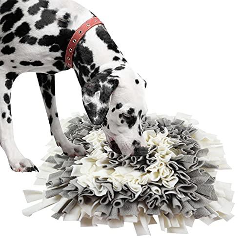IEUUMLER Snuffle Mat para Perros Estera de alimentación Estera de Entrenamiento Manta para la Nariz Juguete de Juego IE075 (45x45cm, Grey & White)
