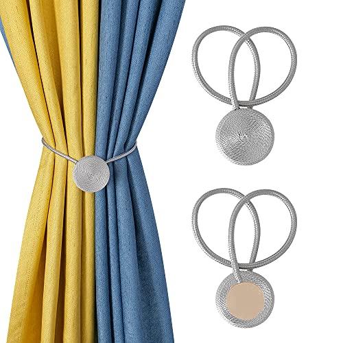 Magnetic Curtain Tiebacks, 2pcs Decorative Curtain Holdback, Rope Curtain Clip Curtain Buckle, Window Drapery Tie Backs Holder (Gray)