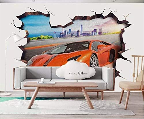 3D No tejido Papel tapiz fotográfico 200(W)X150(H) cm Arte callejero rojo coche deportivo graffiti Murales Papel Pintado para Decoración de Paredes de Dormitorio y Salón