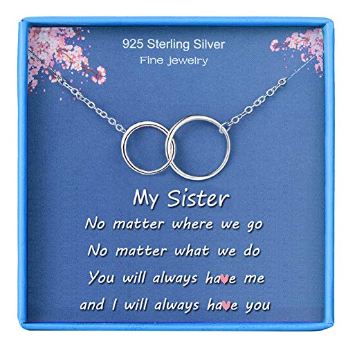 BFF Gifts Necklace for Sister 925 Sterling Silver White Gold Plated Interlocking Infinity 2 Circles Pendant Simple Jewelry for Her Teen Friends Girls Birthday Gift from Sister Women