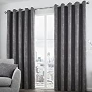 Curtina Solent Eyelet Lined Curtains, Graphite, 66 x 72 Inch