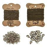 PandaHall Elite Kit para collar DIY con 2 hojas cadena trenzada hierro 100pcs 4mm anilllo...