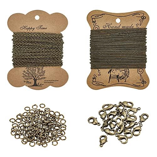 PandaHall Elite 2 Blätter 5m / Blatt Eisen Twisted Ketten Panzerketten Halsketten mit 100 Stück 4mm Biegeringe und 20 Stück Messing Karabinerverschlüsse für DIY Schmuckherstellung, antike Bronze