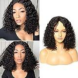 BLISSHAIR Wig Human Hair Kinki Curly Capelli Umani Veri Vergini Brasiliani Ricci Parrucca Short Bob Glueless Lace Front Wig Water Wave with Natural Hairline 40.6cm