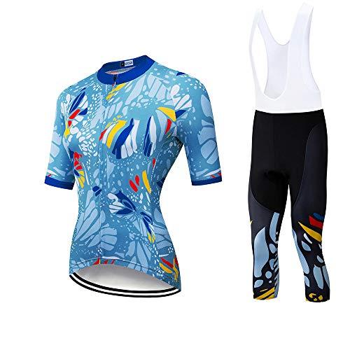 HJWL-Frauen-Fahrradanzüge Kurzarm-Fahrradanzüge Sommer-Outdoor-Damen-Fahrradbekleidung Mountainbike-Bekleidung Fahrradbekleidung Schnelltrocknende Kleidung (3,2XL)