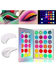 Kalolary Paleta świecących cieni do powiek, 24 kolory, neonowe cienie do powiek świecą w ciemności, dostarczana z 20 naklejkami żelowymi do powiek, do przedłużania rzęs/makijażu ust