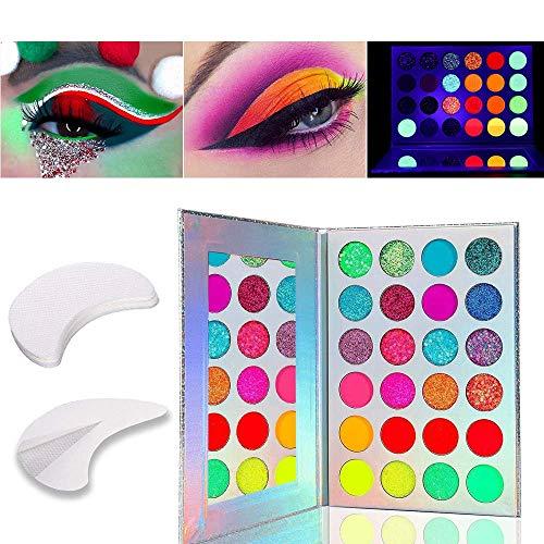 Kalolary 24 Farben Leuchtende Lidschatten-Palette, Die Neon Luminous Eyeshadow Palette leuchtet im Dunkeln, Kommt mit 20 Lidschatten-Gel-Pad-Aufklebern für Wimpernverlängerung/Lippen-Make-up