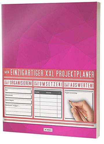 """Mein Projektplaner / Planen, Umsetzen, Auswerten! / 122 Seiten, Register, Kontakte uvm. / PR201 """"Rosa Muster"""" / DIN A4 Softcover"""