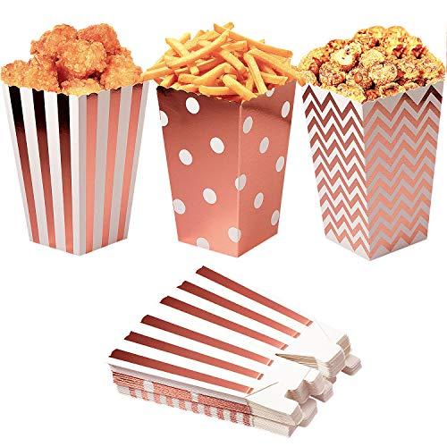 Czemo Scatole di Popcorn 36pcs Pop Corn Box Contenitori di Popcorn Oro Rosa Contenitori di Caramelle per Spuntini del Partito