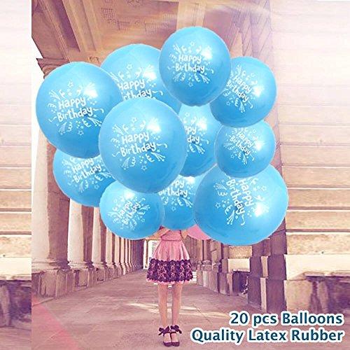 20 pcs Bleu Joyeux anniversaire Ballons imprimés – pour Homme Femme Enfants enfants fête