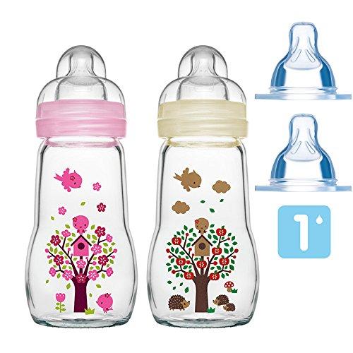 MAM Glas Flaschen Set Feel Good ab Geburt Mädchen 2 x 260 ml inkl. 4 Seiden Sauger