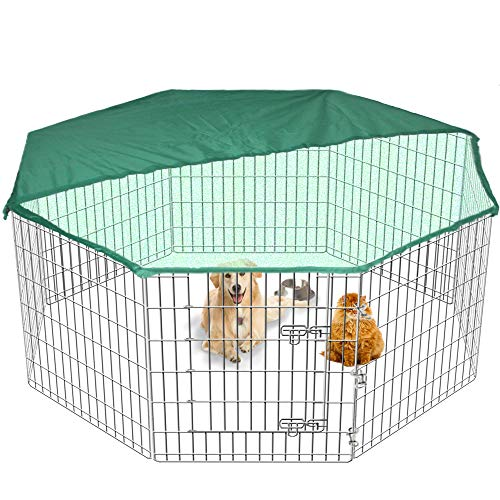 Grote Pet Play Pen Hond Puppy Kooi Metalen Folding Run Hek Tuinkrat Binnen/Buiten & GRATIS Cover 2 Maten, 8 Sided Tall, ZILVER