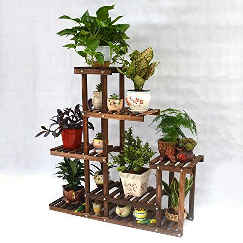 BALLSHOP Blumenständer Pflanzenständer Blumenregal Pflanzenregal Holz 95x25x95cm Mehrstöckig für Innen Balkon Outdoor Indoor Garten Wohzimmer Deko