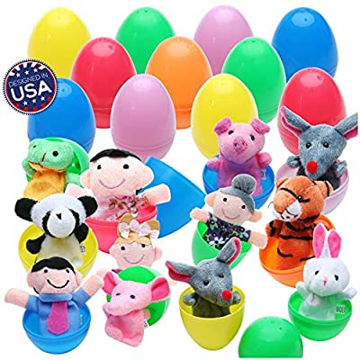 """20 Easter Egg Toys Surprise with Fun Finger Puppets Inside - Animal Finger Puppets in Plastic Eggs 2.4"""" x 1.6"""" (6cm x 4cm) Each Perfect for Easter Egg Hunt, Birthdays, Kids Gifts and Party Favors by BetterLine"""