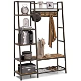 VIPEK Wooden Entryway Coat Rack Shoe Bench, 4-in-1 Industrial Hall Tree with 5 Tier Storage Shelves, 5 Removable Hooks and Hanging Bar, Multipurpose Entryway Bench Corner Coat Rack for Hallway, Rustic Brown