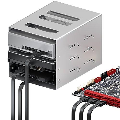 deleyCON 3X 50cm SATA III Kabel im Set S-ATA 3 Datenkabel - HDD SSD Verbindungskabel Anschlusskabel Metall-Clip 6 GBit/s - 2 Gerade L-Type Stecker - Schwarz