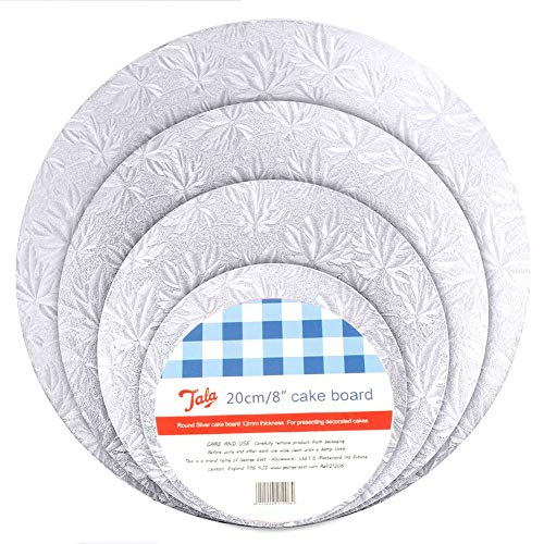 4Pcs Cake Boards Cake Mat Round Thicker Reusable Cake Cardboards with Embossed Foil Wrapping Cake Circle Base for Birthday Party Anniversary Cake Decoration, 8/10/12/14inches