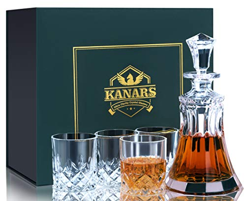 KANARS Whiskey Decanter Set With 4 Glasses, Crafted Crystal Decanter Set for Bourbon, Scotch, Vodka And Liquor, Best Gift for Men