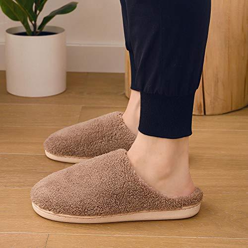 KIKIGO antiscivolo per interni ed esterni, suola in gomma, per uomini e donne, comode pantofole in peluche, pantofole in cotone, per la casa coppia di pantofole marrone_36/37