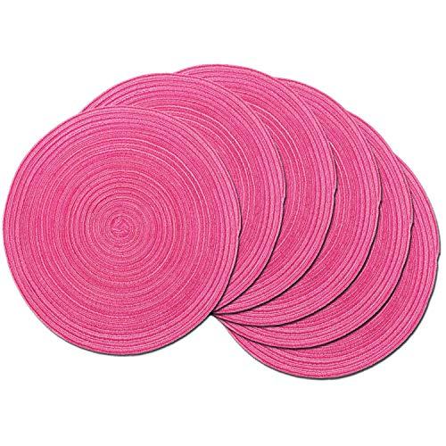 SHACOS Rund Baumwolle Platzsets Set von 6,Tischsets Abwaschbar Verschleißfest Hitzebeständig,geflochtene Platzdeckchen,Ideal für...
