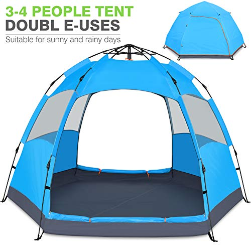 Victostar Instant Pop Up Family Camping Tent,Double Layer Waterproof 4 Season for Picnic Fishing Hiking Traveling (Blue)