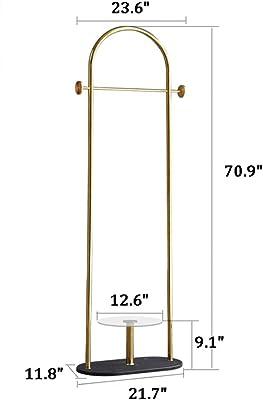 Amazon.com: Perchero de hierro forjado dorado, chasis de ...
