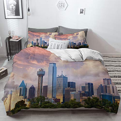 3 Piece Duvet Cover Set No Wrinkle Ultra Soft Bedding Set,United States,Dallas City Skyline at Sunset Clouds Texas Highrise Skyscrapers Landmark,,2 pillowcase 50 x 75cm 1 Pc Bed sheet 260 x 220cm