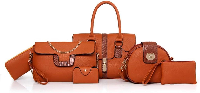 Fullfun Pack of 6 Bags Series Women Multipurpose Purse Leather Shoulder Handbag