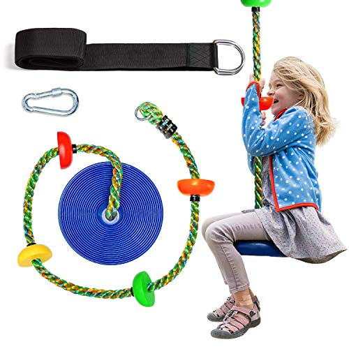 OXYVAN Multicolor Tree Swing Climbing Rope for Kids with Platforms and Blue Disc Swing Seat-Swingset Accessories Outdoor-Carabiner and 5 Ft Tree Strap, Colored Rope Blue