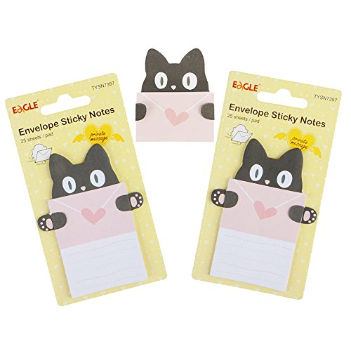 Eagle Cute Cartoon Envelope Sticky Notes , Self-Adhesive, Fold-able , for Private Messaging , Memo Pad, 2-Pack , 50 Sheets in Total (Cat)