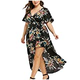 UOFOCO Women Plus Size Floral Printed Long Dress V-Neck Short Sleeve Bell Sleeve High Low Maxi Dress