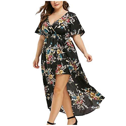 VEMOW Plus Size Elegante Damen Frauen Casual Kurzarm Kalt Schulter Boho Blumendruck Casual Täglichen Party Strand Langes Kleid Schulterfrei Strandkleid
