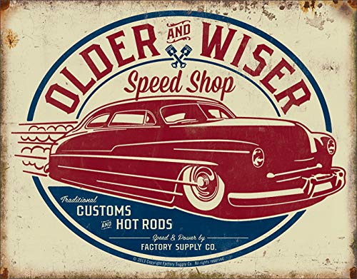 Desperate Enterprises Older & Wiser Speed Shop - 50's Rod Tin Sign, 16' W x 12.5' H