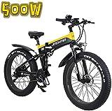 Bicicleta eléctrica de nieve, Bicicleta eléctrica, de 26 pulgadas plegable 13Ah Batería de litio nieve bicicletas, pantalla LCD y faros de LED, 4.0 anchos neumáticos, 48V500W suave cola de la biciclet