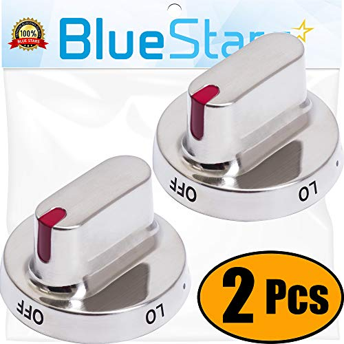 Ultra Durable DG64-00472A DG64-00347A Dial Knob Stainless Steel Surface Replacement Part by Blue Stars - Exact Fit for Samsung Range Oven - Replaces PS10058981 AP5949480 - Pack of 2