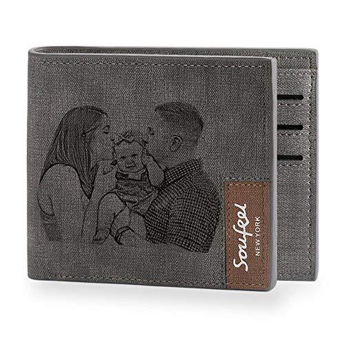 SOUFEEL Personalisiert Foto Geldbörse aus Leder Geldbeutel Portemonnaie mit Gravur 11.5x9.5x0.5 (B x H x T) Ultra leicht ideal Geschenkidee - Klassisches Grau