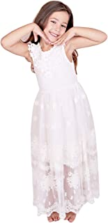 Bow Dream Off White Black A-line Sleeveless Vintage Lace Flower Girl's Dress