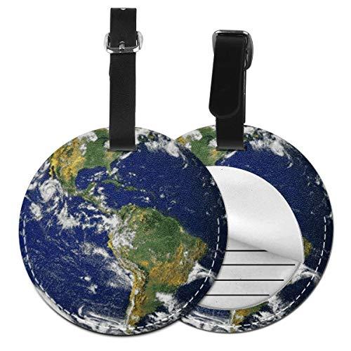 Kofferanhänger PU Leder The World Global Sehr schöner Globus, Gepäckanhänger ID Etikett Mit Adressschild Namenschild für Reisetasche Koffer